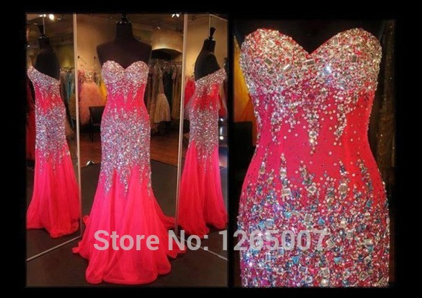 Aliexpress.com : Buy 2014 Sweetheart Sparkly Rhinestone Beaded Slit Side Pink Long Prom Dresses Fashion Maxi Long Dress Formal Special Occasion Dress from Reliable dress base suppliers on SFBridal