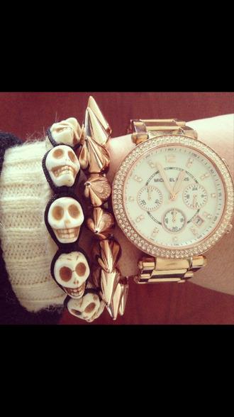 jewels gold rosy style jewlery skull bracelets black spiked