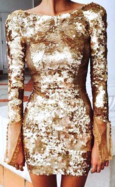 Malkah mesh gauntlet sleeve sequin short backless dress