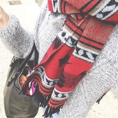 scarf,red underwear,red,red scarf,pullover,sweater,winter sweater,grey,black,black bag,bag,winter outfits,fall outfits,fall sweater,scarve scarf