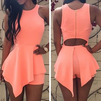dress neon dres sexy jumpsuit two-piece peach dresses shorts backless dress crop tops asymmetrical dress asymmetrical skirt coral romper pink style
