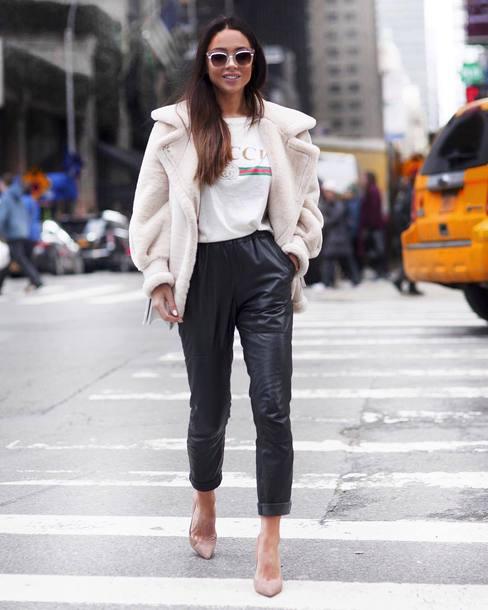 e4806b7b6fc pants tumblr black pants black leather pants leather pants white t-shirt t- shirt