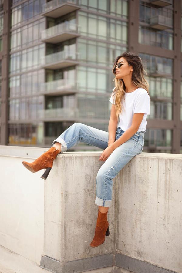 Little Black Boots Blogger Jeans Boyfriend Jeans Light