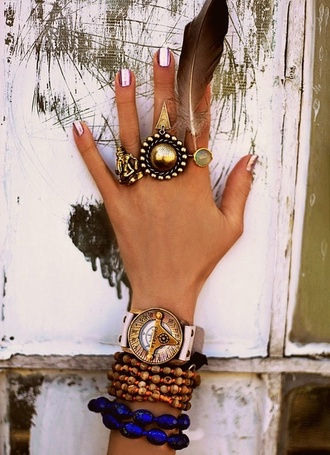 jewels gold bronze blue watch ring beaded hippie nail polish rose gold silver compass stone bracelets feathers triangle pink
