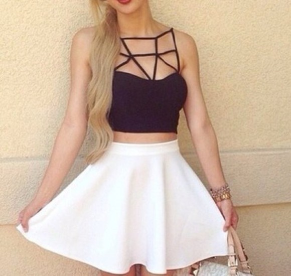 white skirt top black and white white skater skirt black tank glamour bracelets white singlet