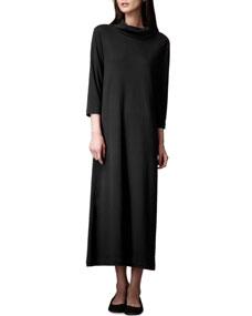 Turtleneck maxi dress, black, womens