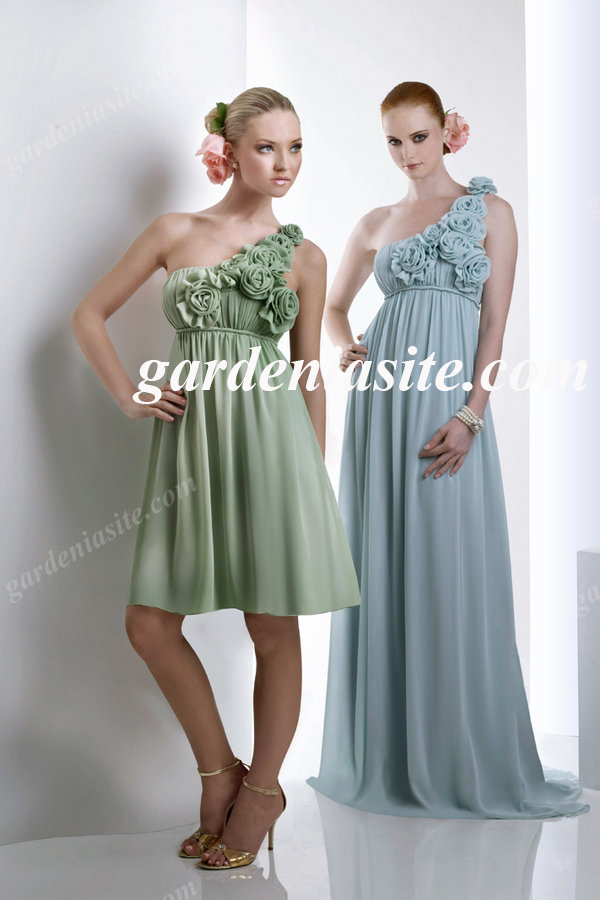 Empire One Shoulder Draped Chiffon Homecoming Dress 2014 with Flowers - Gardeniasite
