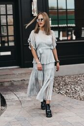 dress,sunglasses,tumblr,tartan dress,plaid,grey dress,ruffle,boots,black boots,ankle boots,shoes