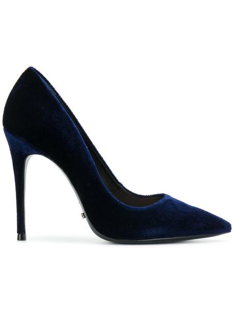 Schutz women pumps leather blue velvet shoes