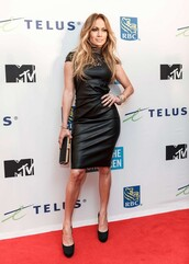 dress,leather dress,jennifer lopez,leather,black