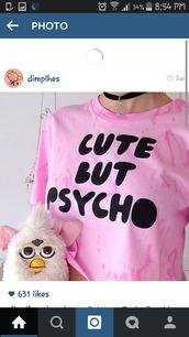 shirt,psycho,ferbie,choker necklace,stars,baby,calm,cool,indie,skirt,top,cute,kawaii,pastel goth,creepy,soft grunge,tumblr,crop tops,harajuku,grunge,pastel,t-shirt,purple,pycho,cute but psycho,style,pink,cutebutpsycho,tie dye,light pink tie shirt