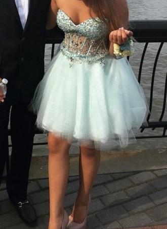dress teal prom dress