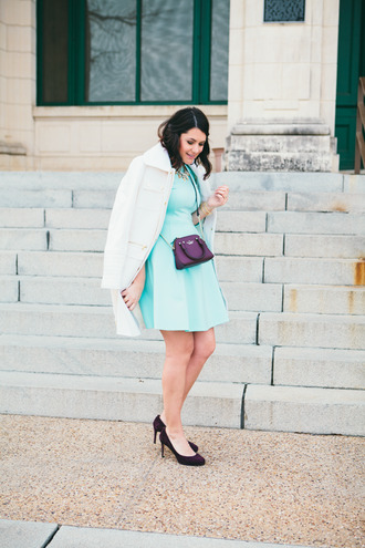 kendi everyday blogger dress bag winter coat mint