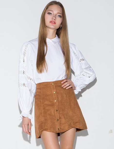 Skirt: brown suede button mini skirt, mini skirt, button mini ...