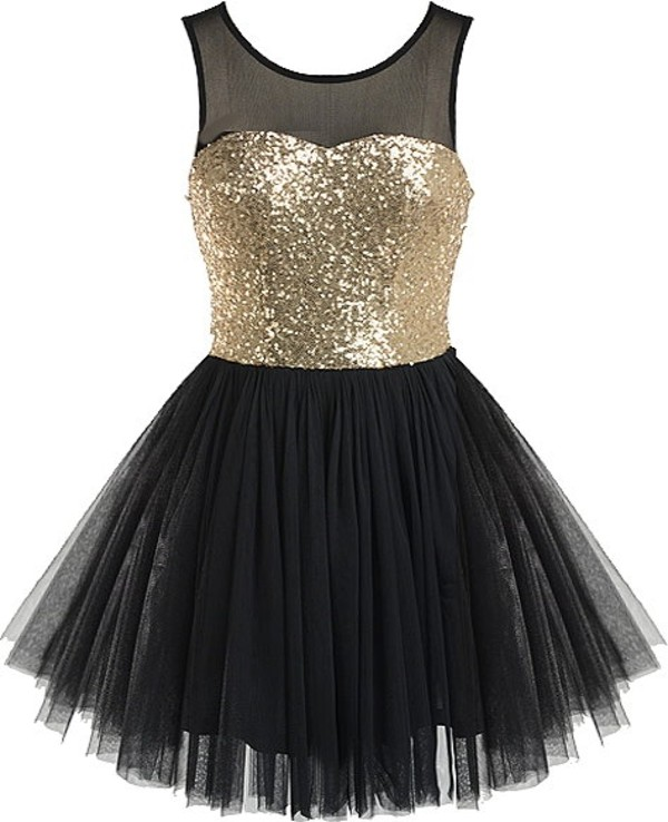 dress black gold sequins sweetheart mesh tutu a-line party