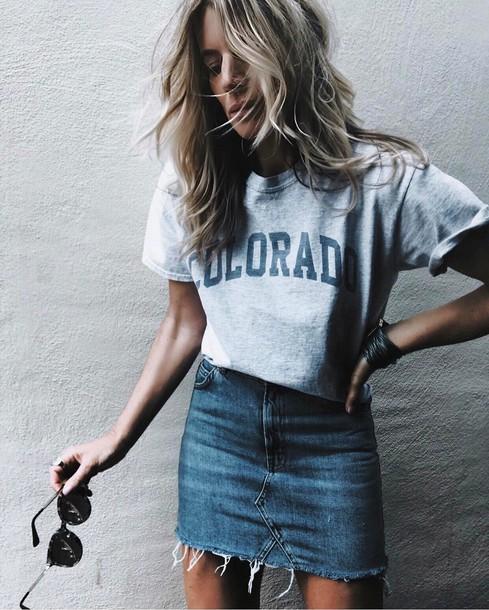 t-shirt, tumblr, white t-shirt, denim, denim skirt, blue skirt, mini skirt,  logo tee, sunglasses, spring outfits, shirt, skirt - Wheretoget