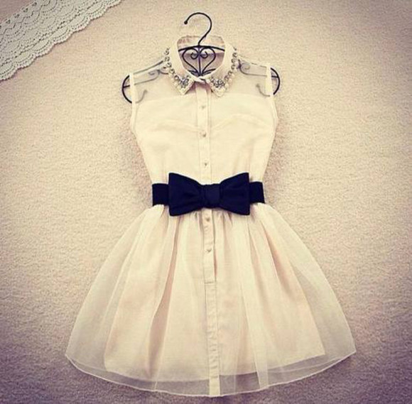 dress noeud noir blanc perles