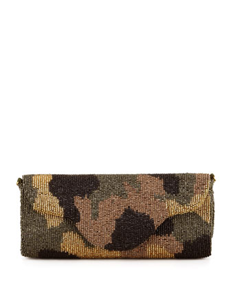 Moyna Camouflage Beaded Clutch Bag, Olive - Neiman Marcus