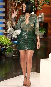 skirt,pumps,rihanna,blouse,top,crop tops,high waisted,mini skirt,leather,leather skirt,shoes,jewels,rihanna style,celebrity style,celebrity,necklace,choker necklace,black choker,jewelry
