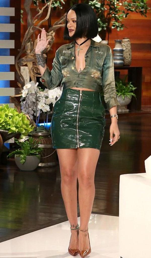 Skirt Pumps Rihanna Blouse Top Crop Tops High