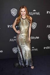 dress,sandals,sequins,sequin dress,gold sequins,gold,gold dress,bella thorne,Golden Globes 2016,gown,prom dress,shoes