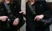 bag,handbag,shoulder bag,women shoulder bags,black,tag,buckles,straps,thick strap,zips,stud,celebrity,celebrity style steal,keeley hawes