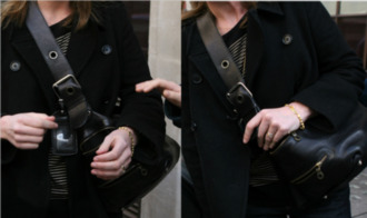 bag handbag shoulder bag women shoulder bags black tag buckles straps thick strap zips stud celebrity celebrity style steal keeley hawes