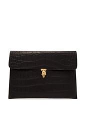 envelope clutch,clutch,crocodile,black,bag