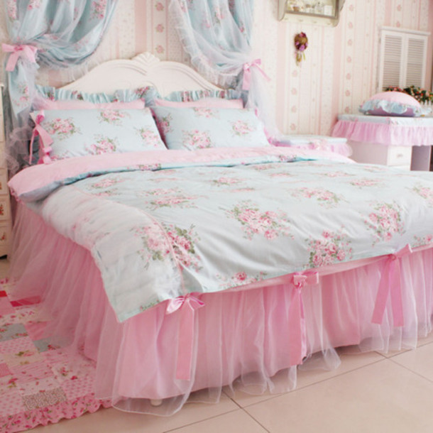 pajamas bedding flowers girly bedding kawaii home decor home accessory