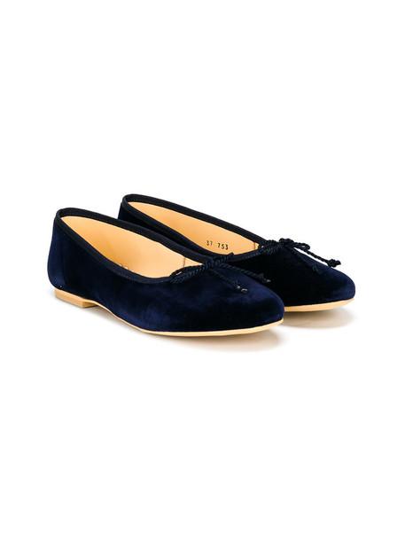 Oscar De La Renta Kids classic leather cotton blue shoes