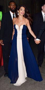 dress,gown,prom dress,bustier dress,celebrity,amal clooney,maxi dress