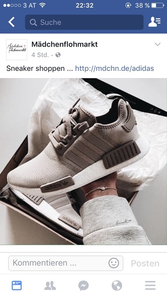 shoes nmd_r1 clothes sneakers adidas white brown