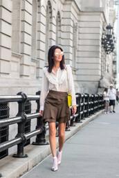 skirt,ruffle skirt,mini skirt,shirt,ruffle shirt,crossbody bag,blogger,blogger style,socks,pumps,wrap skirt,silver pumps,shoulder bag