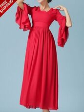dress,red,long sleeves,midi,flare