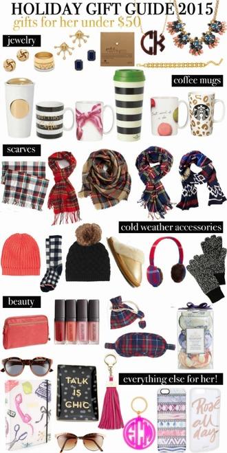 life with emily blogger holiday gift tartan scarf travel mug statement necklace