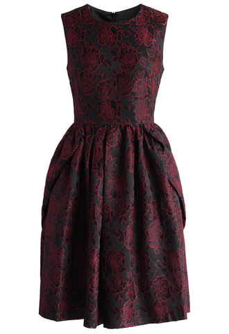 dress wine rose jacquard dress jacquard dress prom dress wine dress printed dress