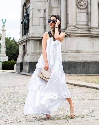 dress tumblr maxi dress white long dress long dress sandals sandal heels high heel sandals sunglasses bag shoes