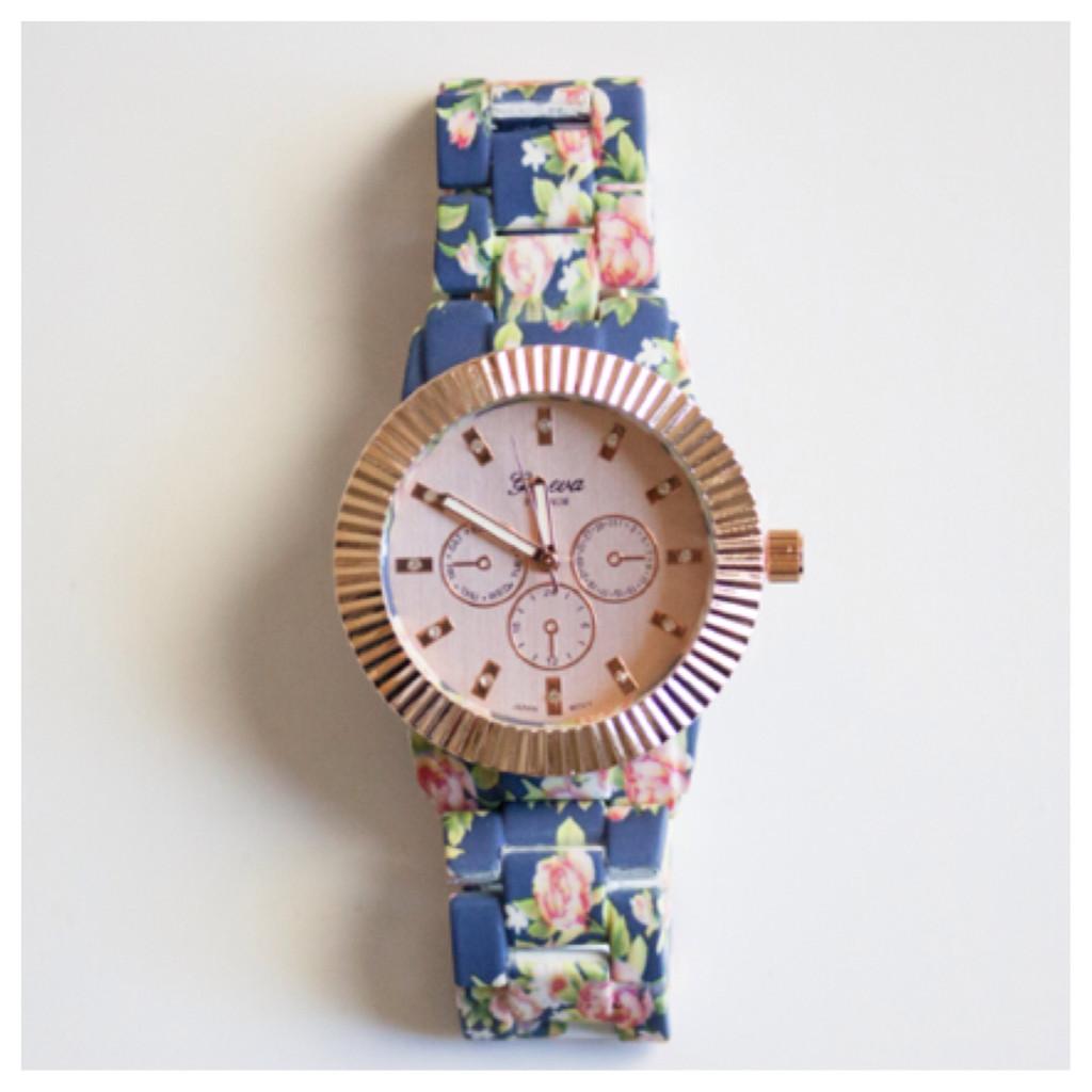 Geneva Floral Metal Watch | Barbee Boutique