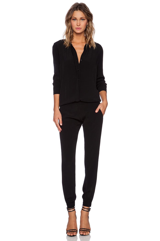 MONROW Crepe Long Sleeve Jumpsuit in black