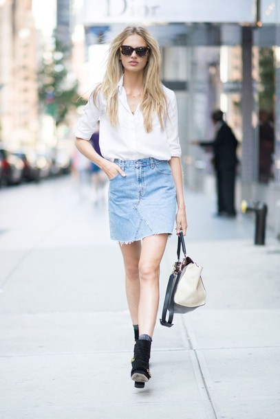 White Shirt And Denim Skirt - Dress Ala