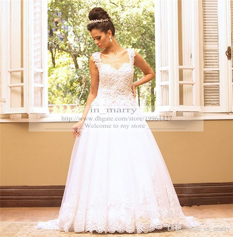 Bling Vintage Lace Wedding Gowns 2016 A Line Sweetheart Sequins ...