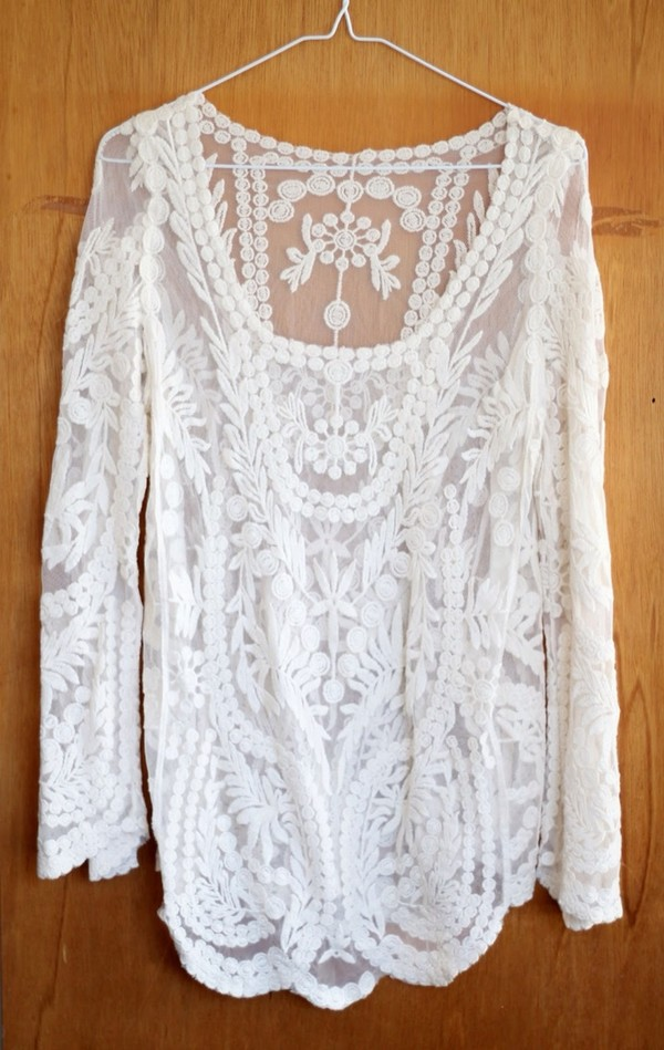 shirt nikki bachelor blouse crochet lace blouse
