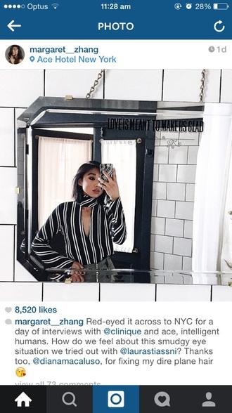 shirt margaret zhang black and white deep v necktie stripes long sleeves striped shirt blogger fashion