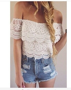 Lace openwork lace shirt gg731db