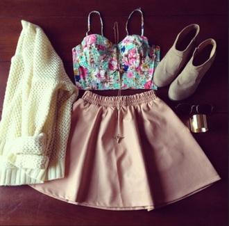 shirt blue pink floral skirt jacket jewels blouse dress t-shirt tank top underwear