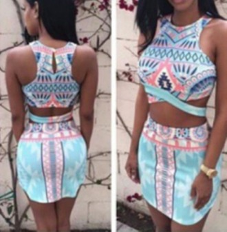 dress cut-out cut-out dress print print dress tribal print dress aztec print dress bodycon bodycon dress