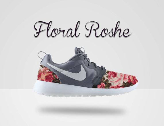 floral nike roshe run roshe run gray roshe floral by mindyslab. Black Bedroom Furniture Sets. Home Design Ideas