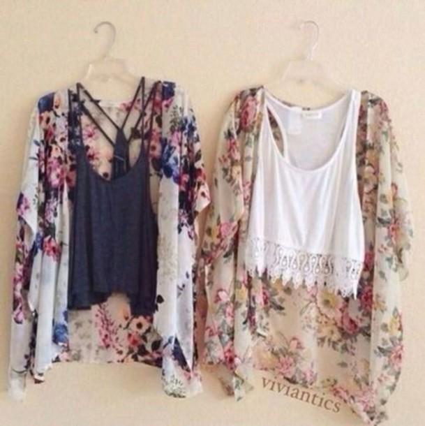 cardigan flowers print blouse