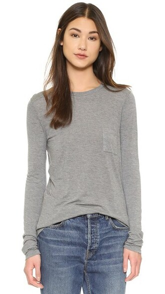 long classic grey heather grey top