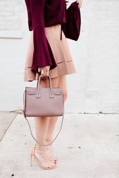 skirt,tumblr,mini skirt,pink skirt,bag,pink bag,handbag,sandals,sandal heels,high heel sandals,nude sandals,minimalist sandals,bell sleeves,nude,dusty pink,fall colors,burgundy